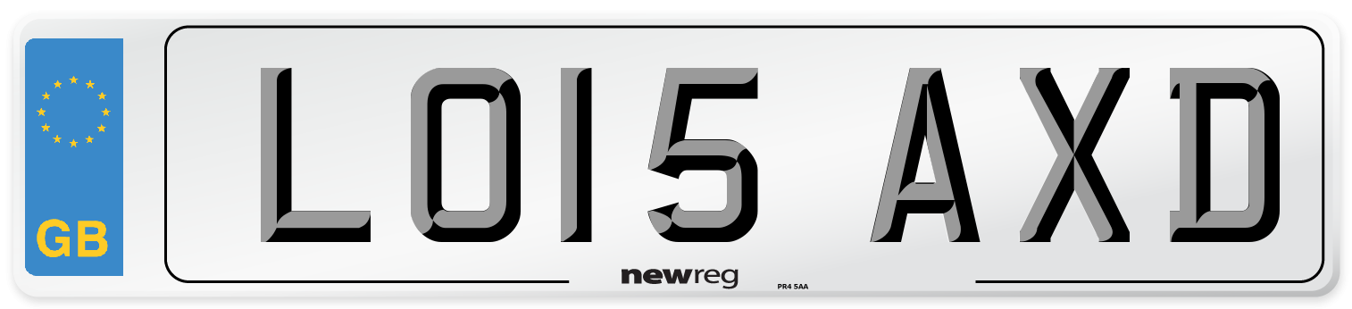LO15 AXD Number Plate from New Reg