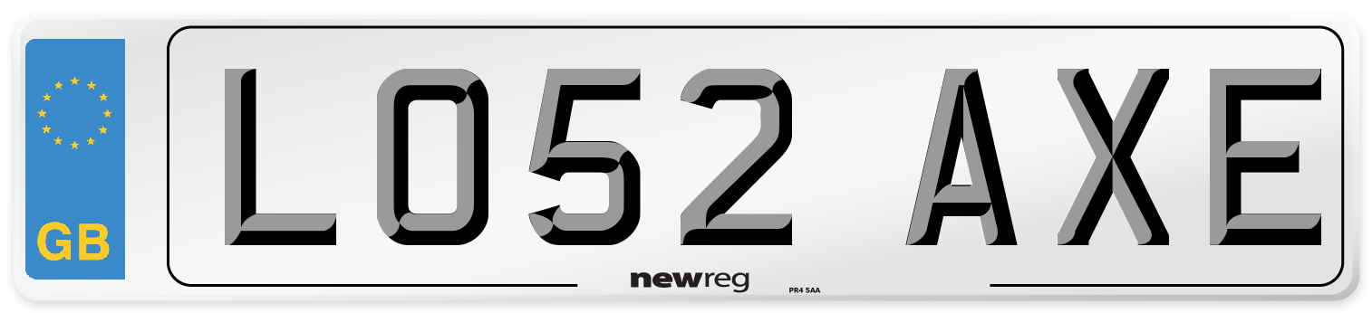 LO52 AXE Number Plate from New Reg
