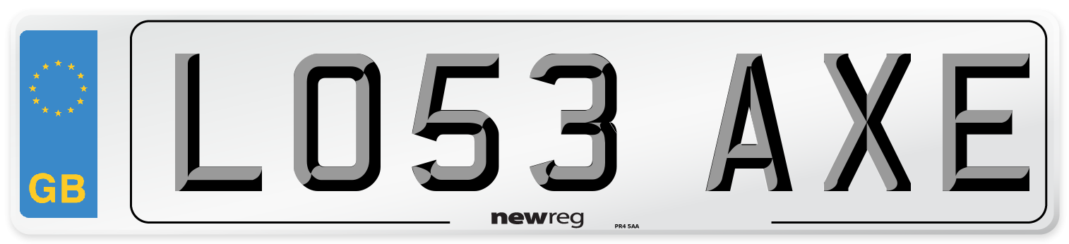 LO53 AXE Number Plate from New Reg