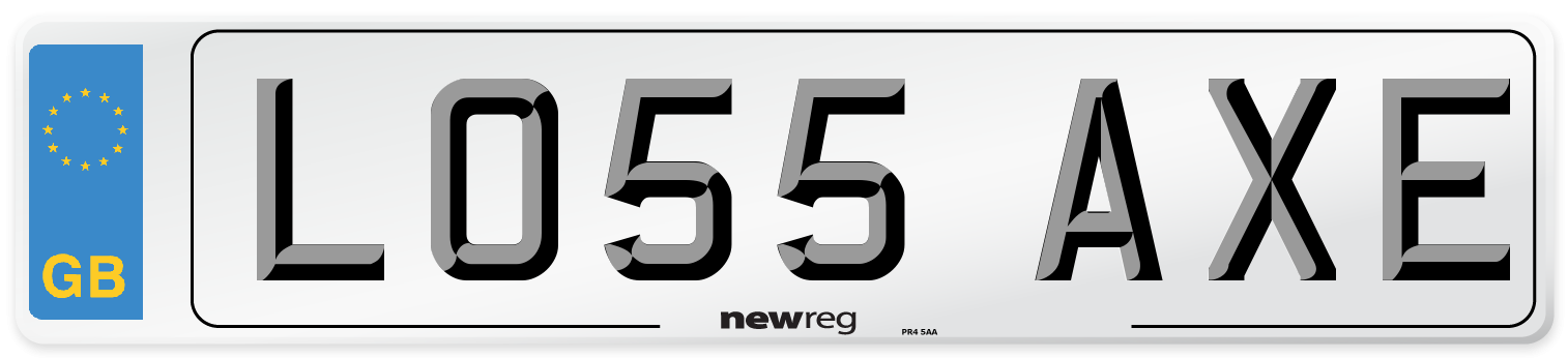 LO55 AXE Number Plate from New Reg