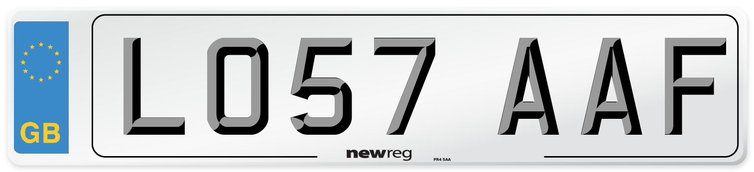 LO57 AAF Number Plate from New Reg
