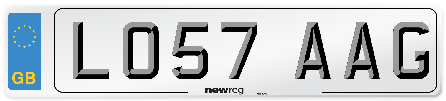 LO57 AAG Number Plate from New Reg