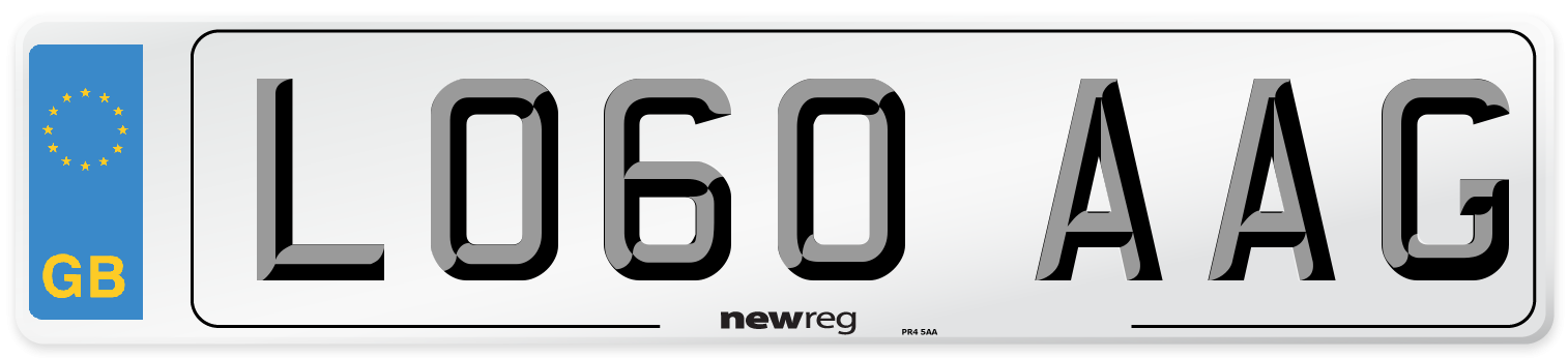 LO60 AAG Number Plate from New Reg