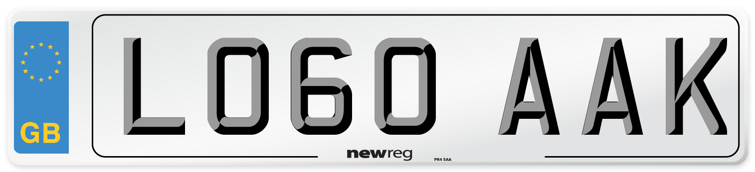 LO60 AAK Number Plate from New Reg