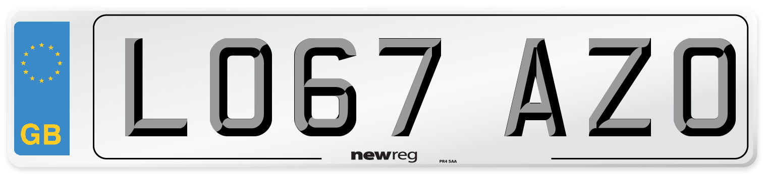 LO67 AZO Number Plate from New Reg