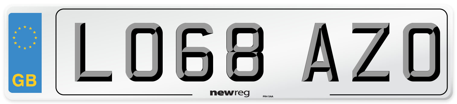 LO68 AZO Number Plate from New Reg