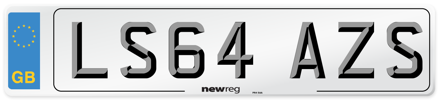 LS64 AZS Number Plate from New Reg