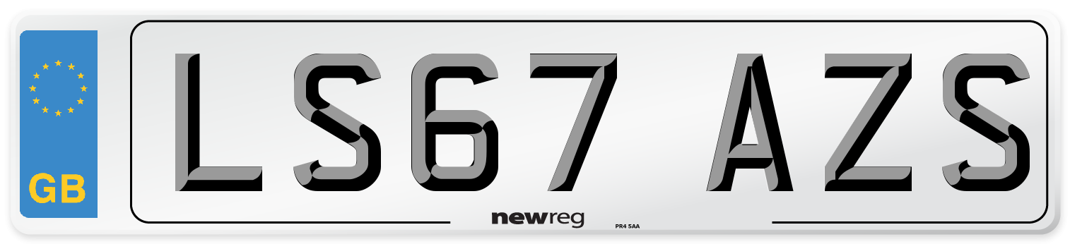 LS67 AZS Number Plate from New Reg