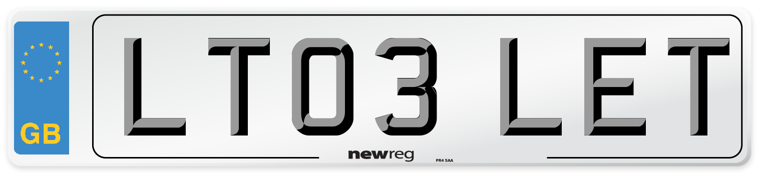 LT03 LET Number Plate from New Reg