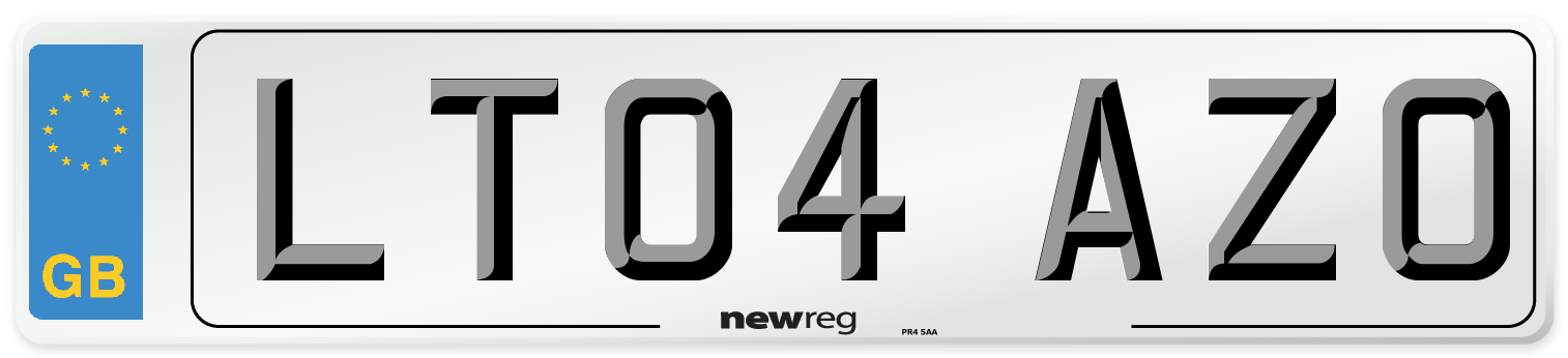LT04 AZO Number Plate from New Reg