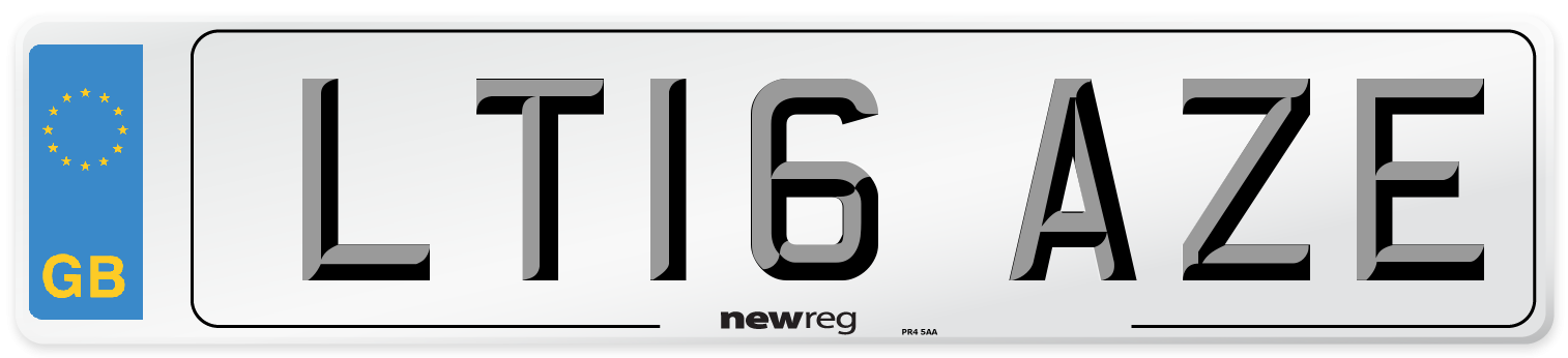 LT16 AZE Number Plate from New Reg