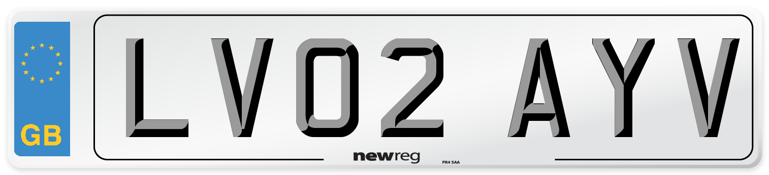LV02 AYV Number Plate from New Reg