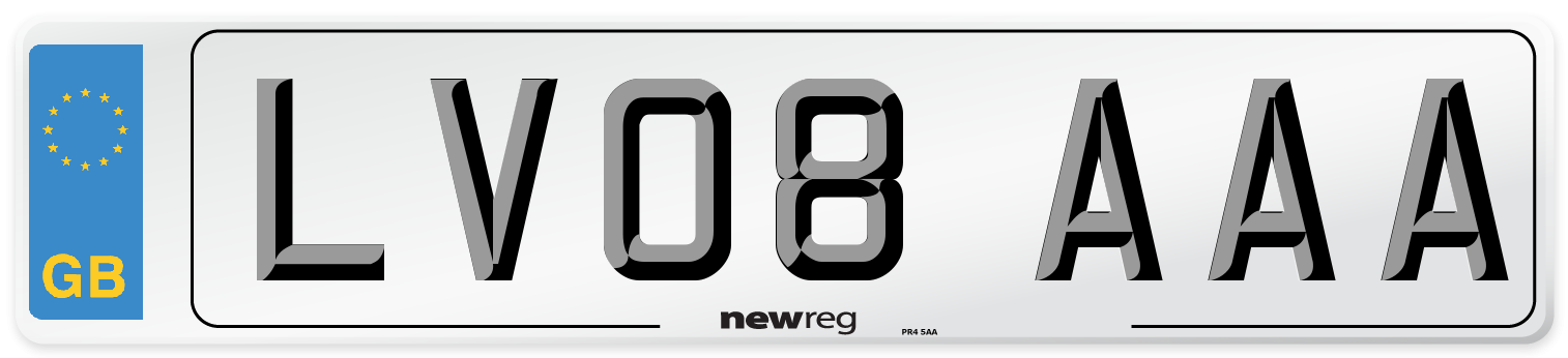 LV08 AAA Number Plate from New Reg