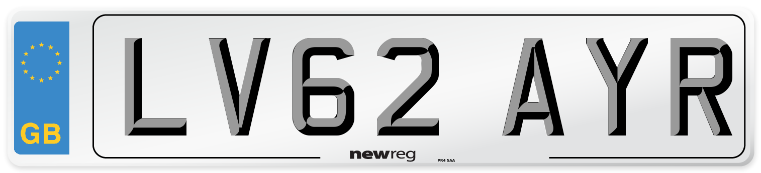 LV62 AYR Number Plate from New Reg
