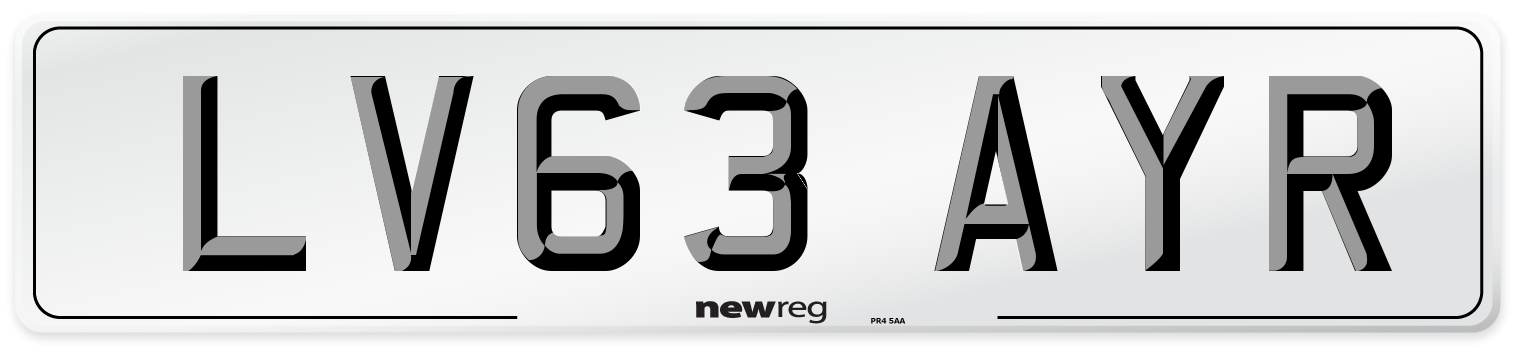 LV63 AYR Number Plate from New Reg