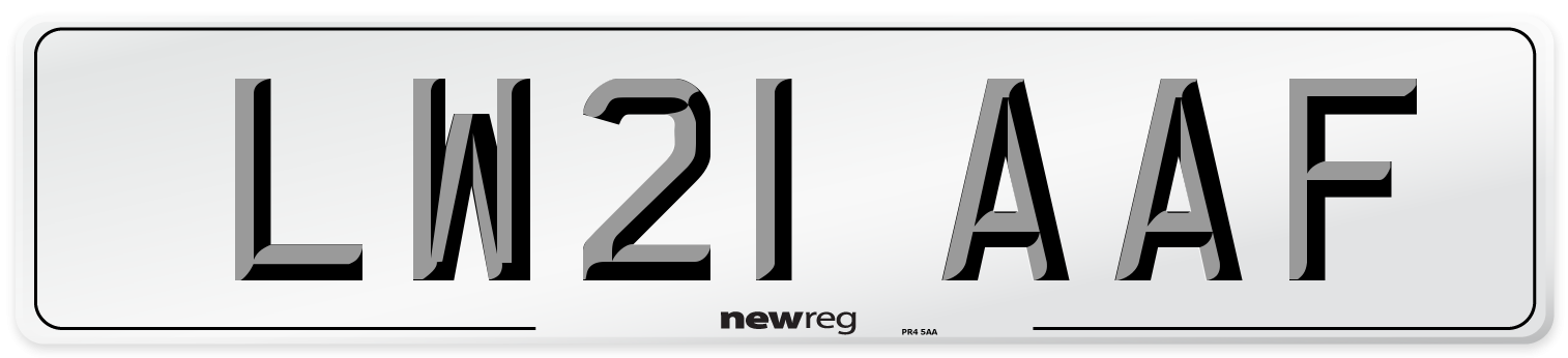 LW21 AAF Number Plate from New Reg