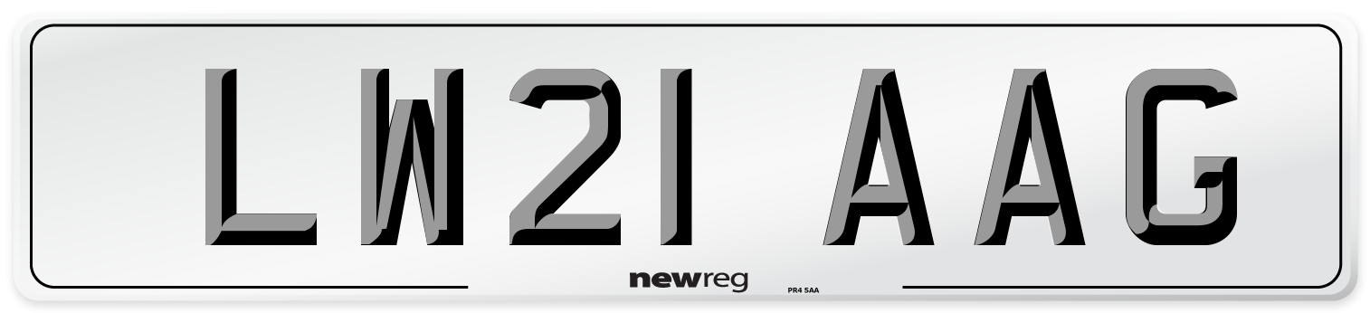 LW21 AAG Number Plate from New Reg
