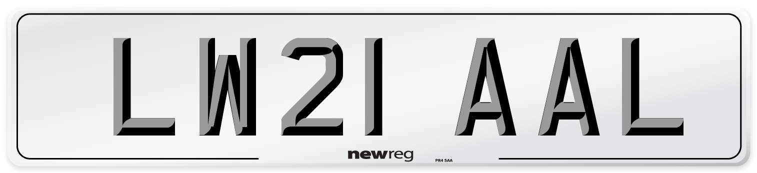 LW21 AAL Number Plate from New Reg