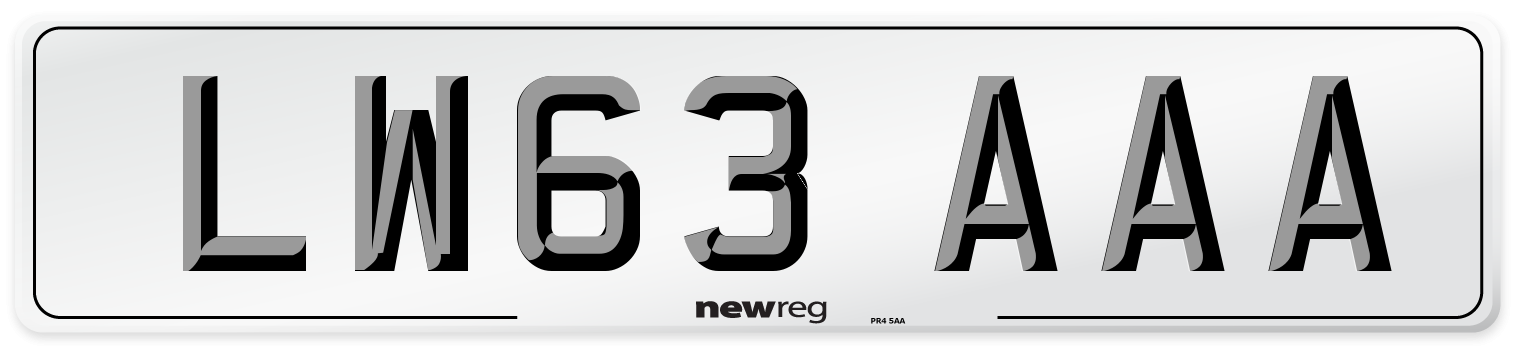 LW63 AAA Number Plate from New Reg