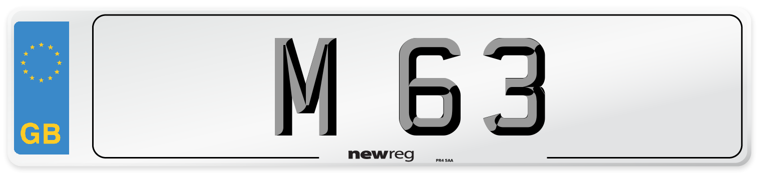 M 63 Number Plate from New Reg