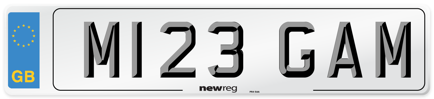 M123 GAM Number Plate from New Reg