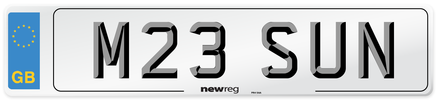 M23 SUN Number Plate from New Reg