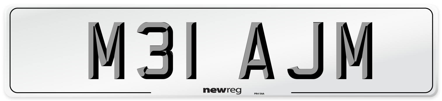 M31 AJM Number Plate from New Reg