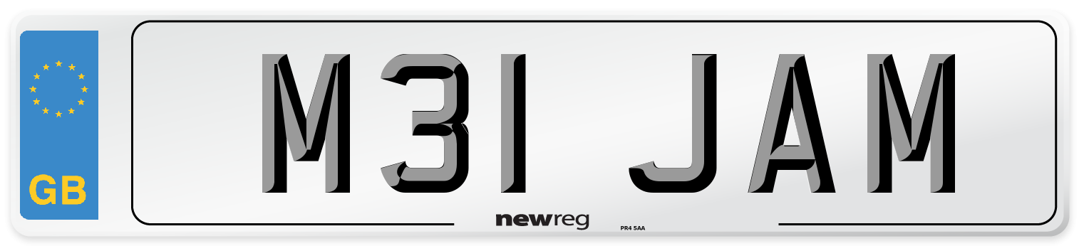 M31 JAM Number Plate from New Reg