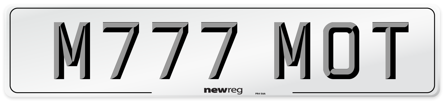 M777 MOT Number Plate from New Reg