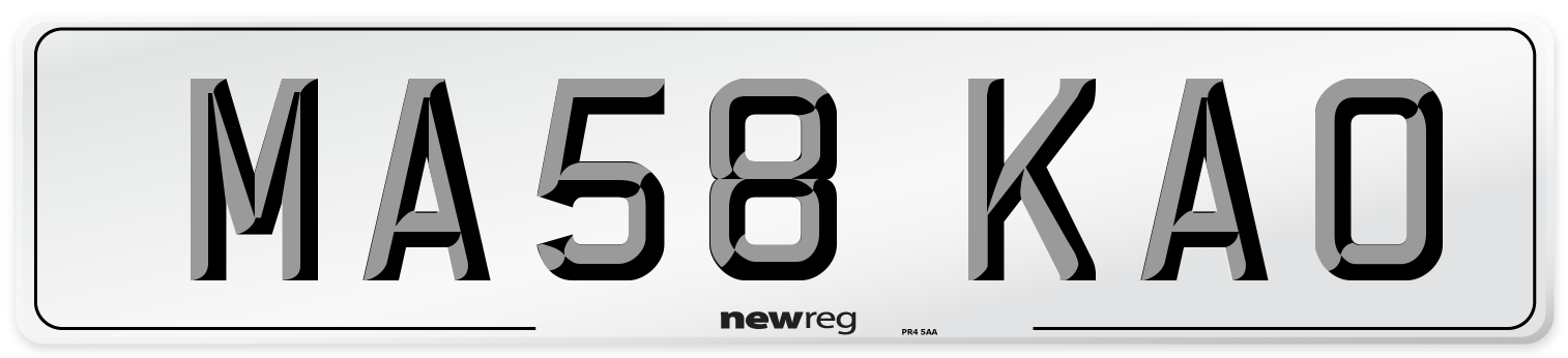 MA58 KAO Number Plate from New Reg
