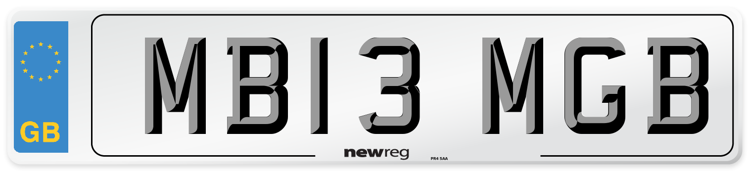 MB13 MGB Number Plate from New Reg