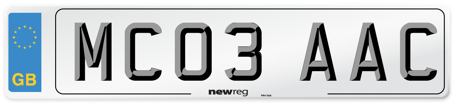 MC03 AAC Number Plate from New Reg