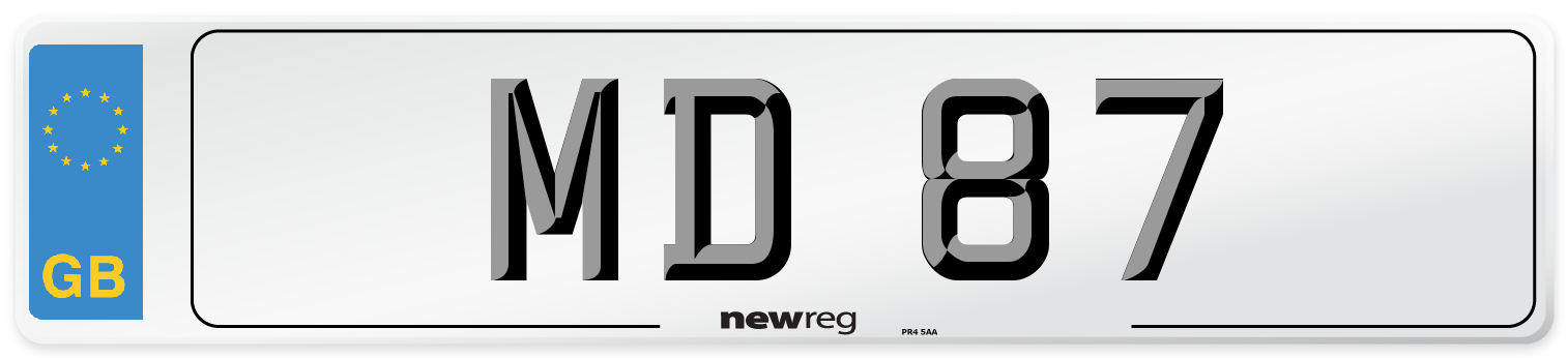 MD 87 Number Plate from New Reg