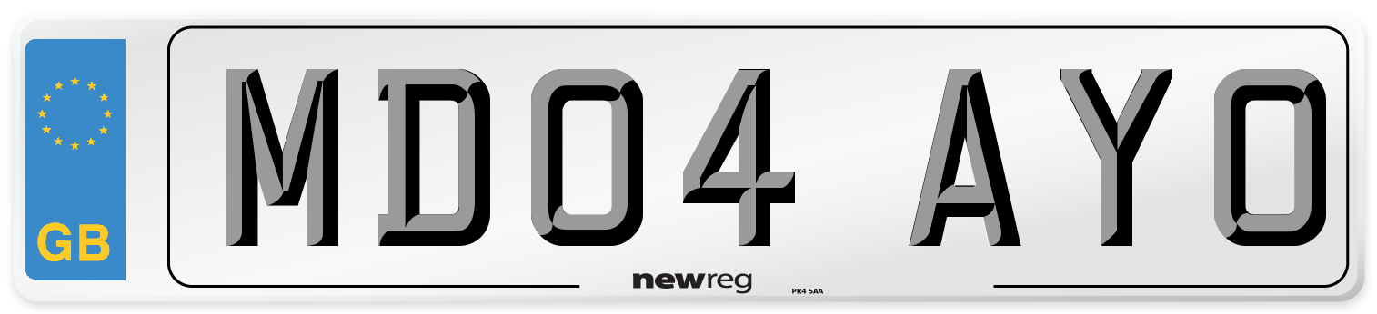 MD04 AYO Number Plate from New Reg