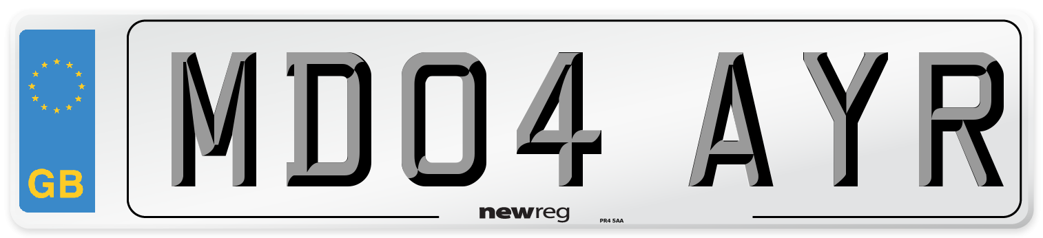 MD04 AYR Number Plate from New Reg