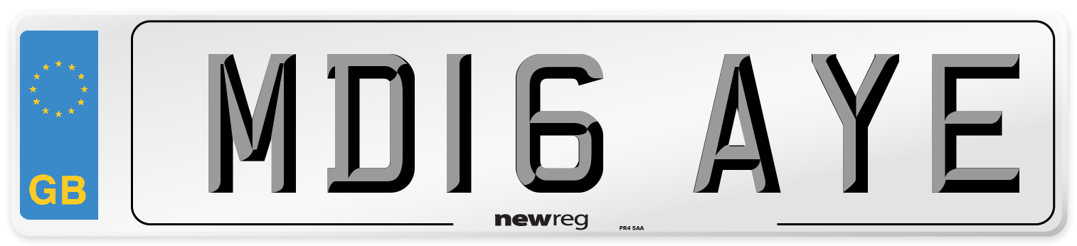 MD16 AYE Number Plate from New Reg