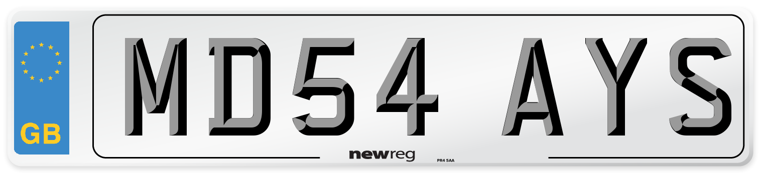 MD54 AYS Number Plate from New Reg