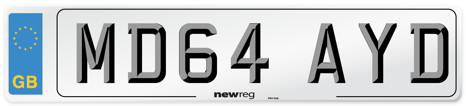 MD64 AYD Number Plate from New Reg