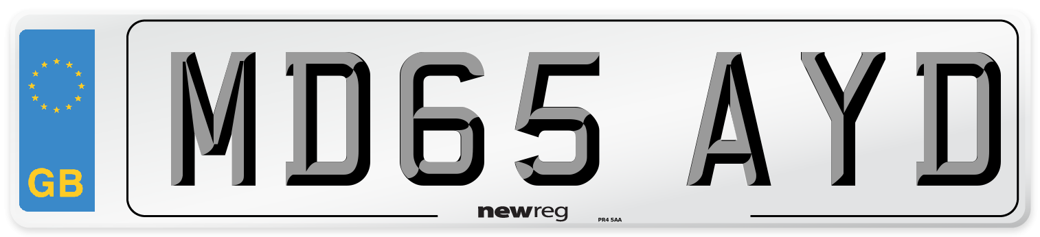 MD65 AYD Number Plate from New Reg