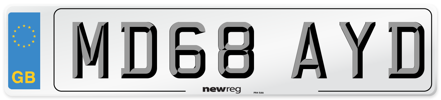 MD68 AYD Number Plate from New Reg