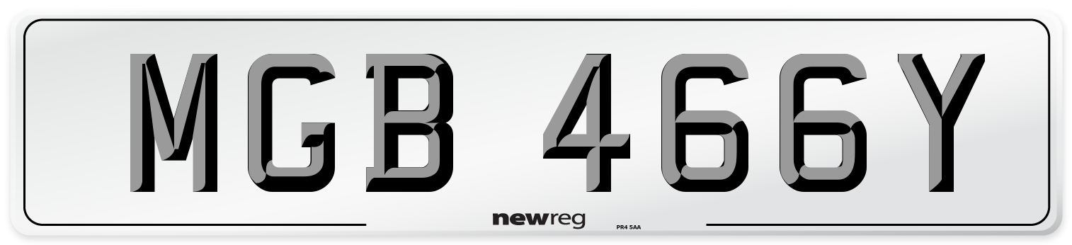 MGB 466Y Number Plate from New Reg