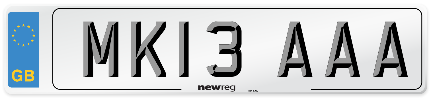 MK13 AAA Number Plate from New Reg