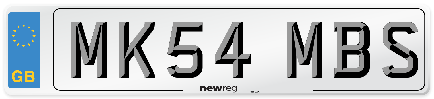MK54 MBS Number Plate from New Reg