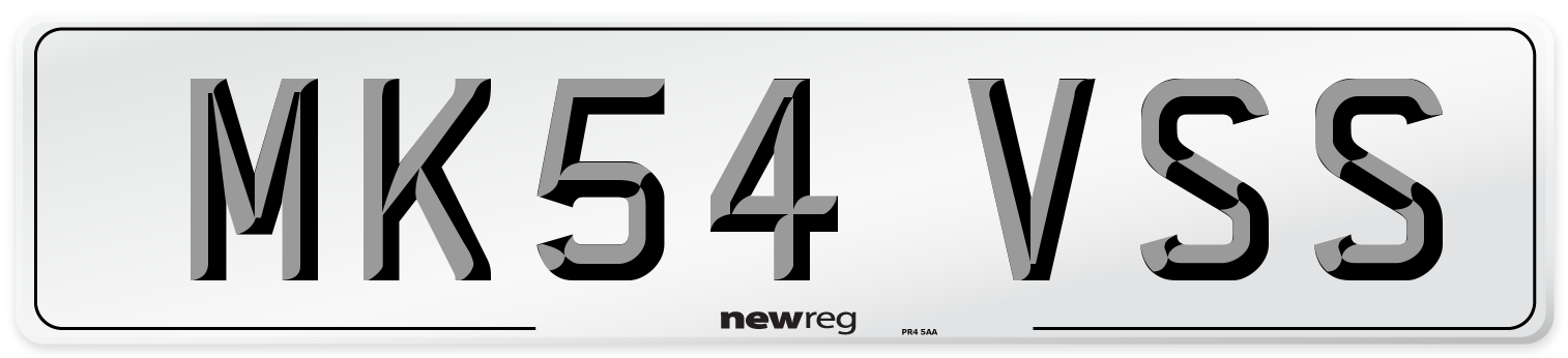 MK54 VSS Number Plate from New Reg