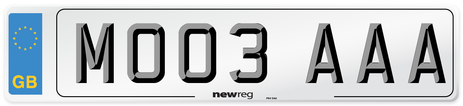 MO03 AAA Number Plate from New Reg