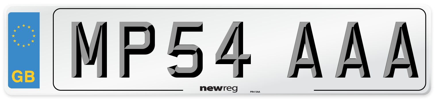 MP54 AAA Number Plate from New Reg