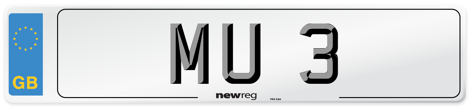 MU 3 Number Plate from New Reg