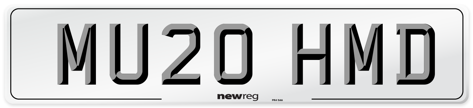 MU20 HMD Number Plate from New Reg