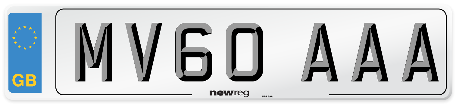 MV60 AAA Number Plate from New Reg