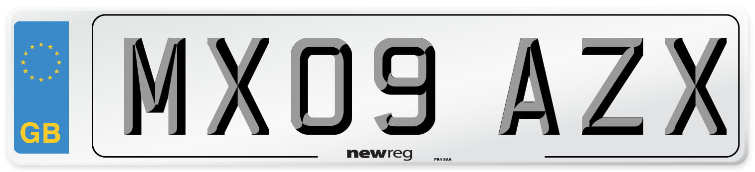 MX09 AZX Number Plate from New Reg